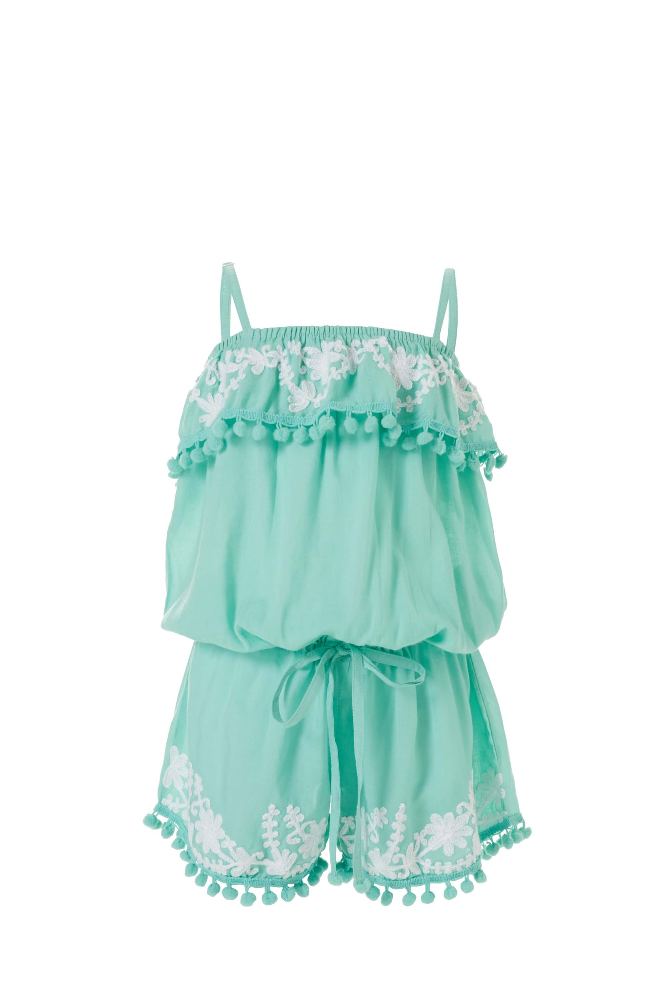 Baby Eisha Mint/White Embroidered Romper