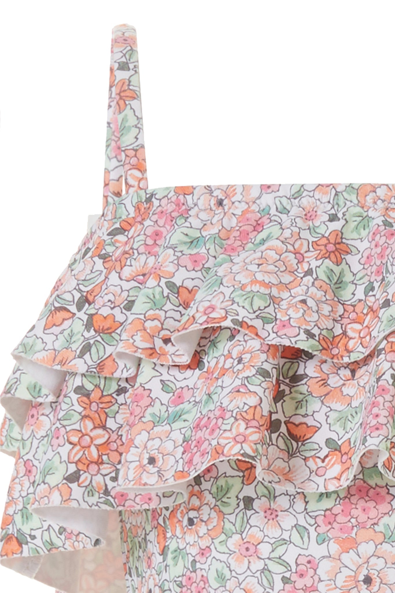 Baby Ivy Floral Orange Frill Swimsuit