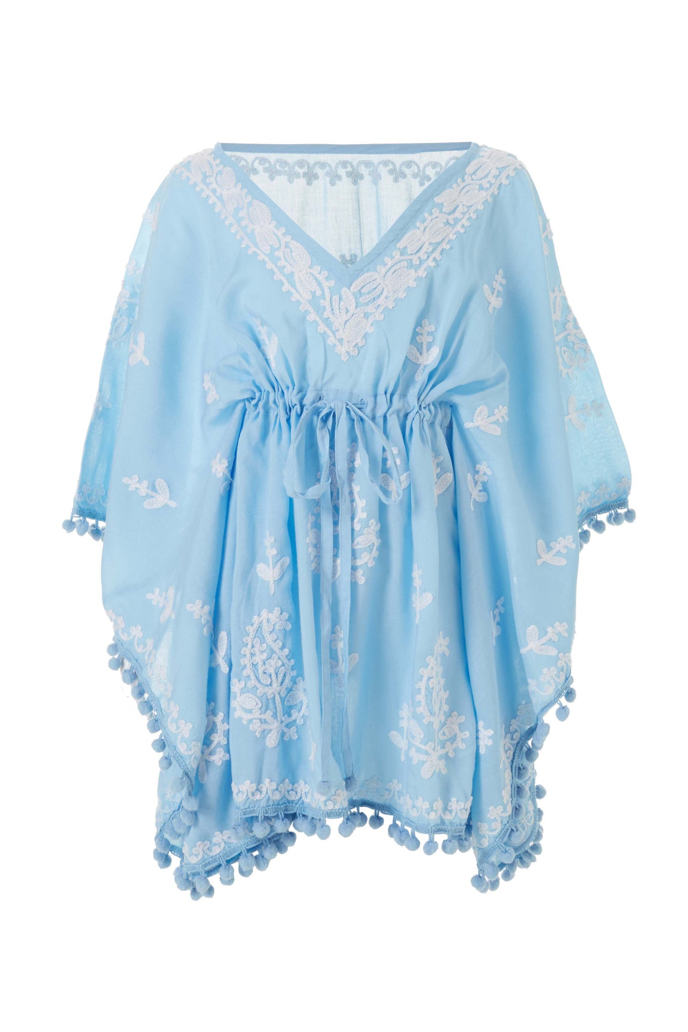 Baby Sharize Cornflower/White Embroidered Kaftan