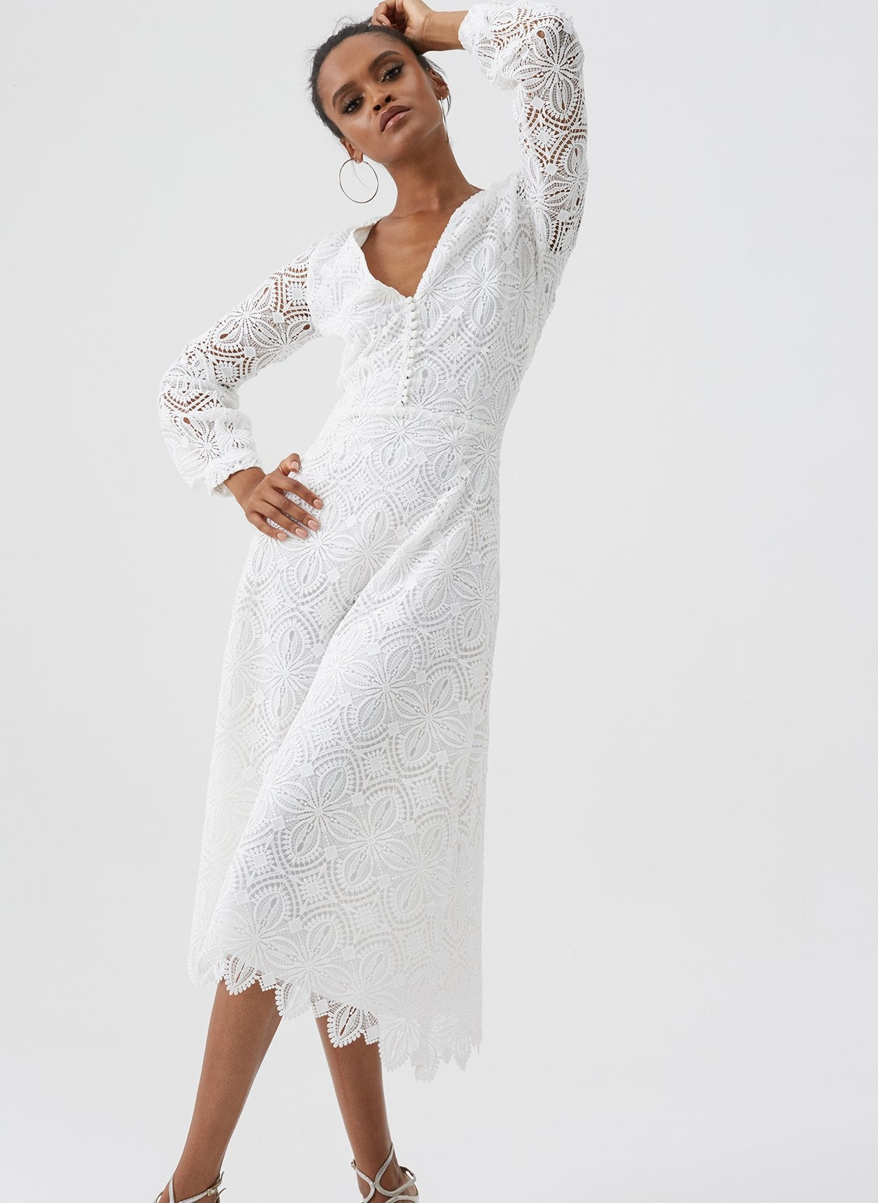 Bardot White Lace V Neck Midi Dress