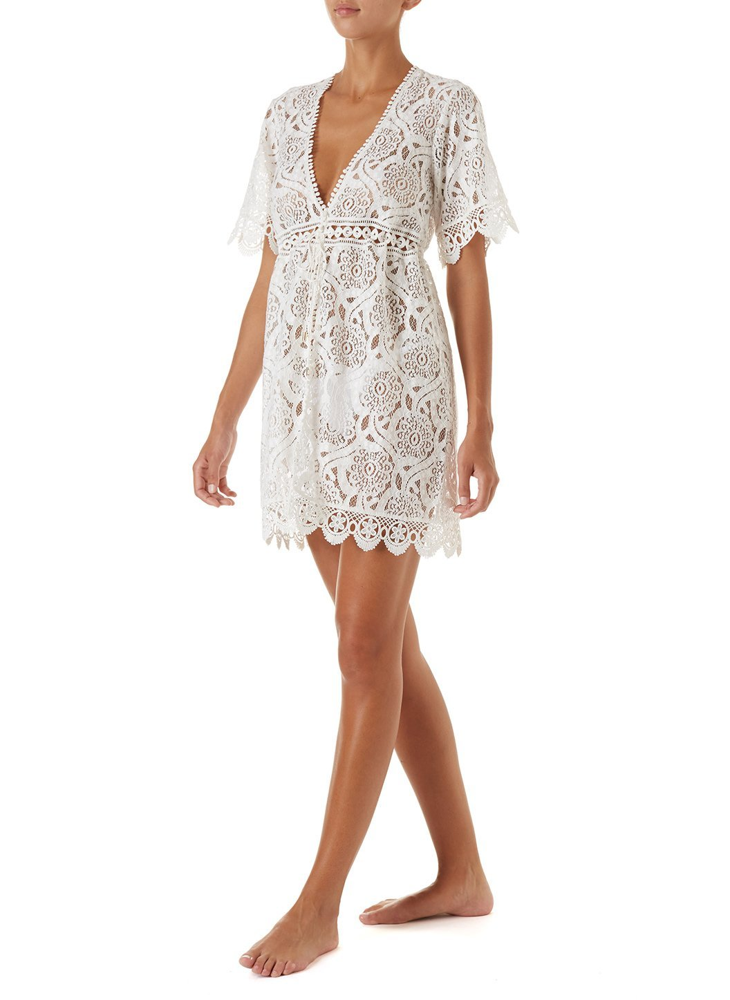 barrie white embroidered lace short button down coverup 2019 F_2