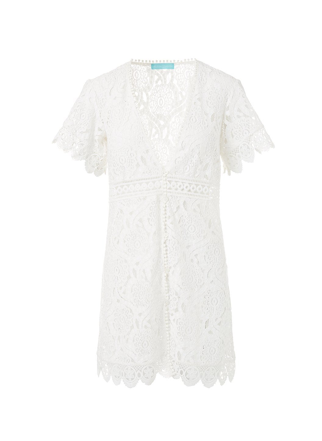 barrie white embroidered lace short button down coverup 2019