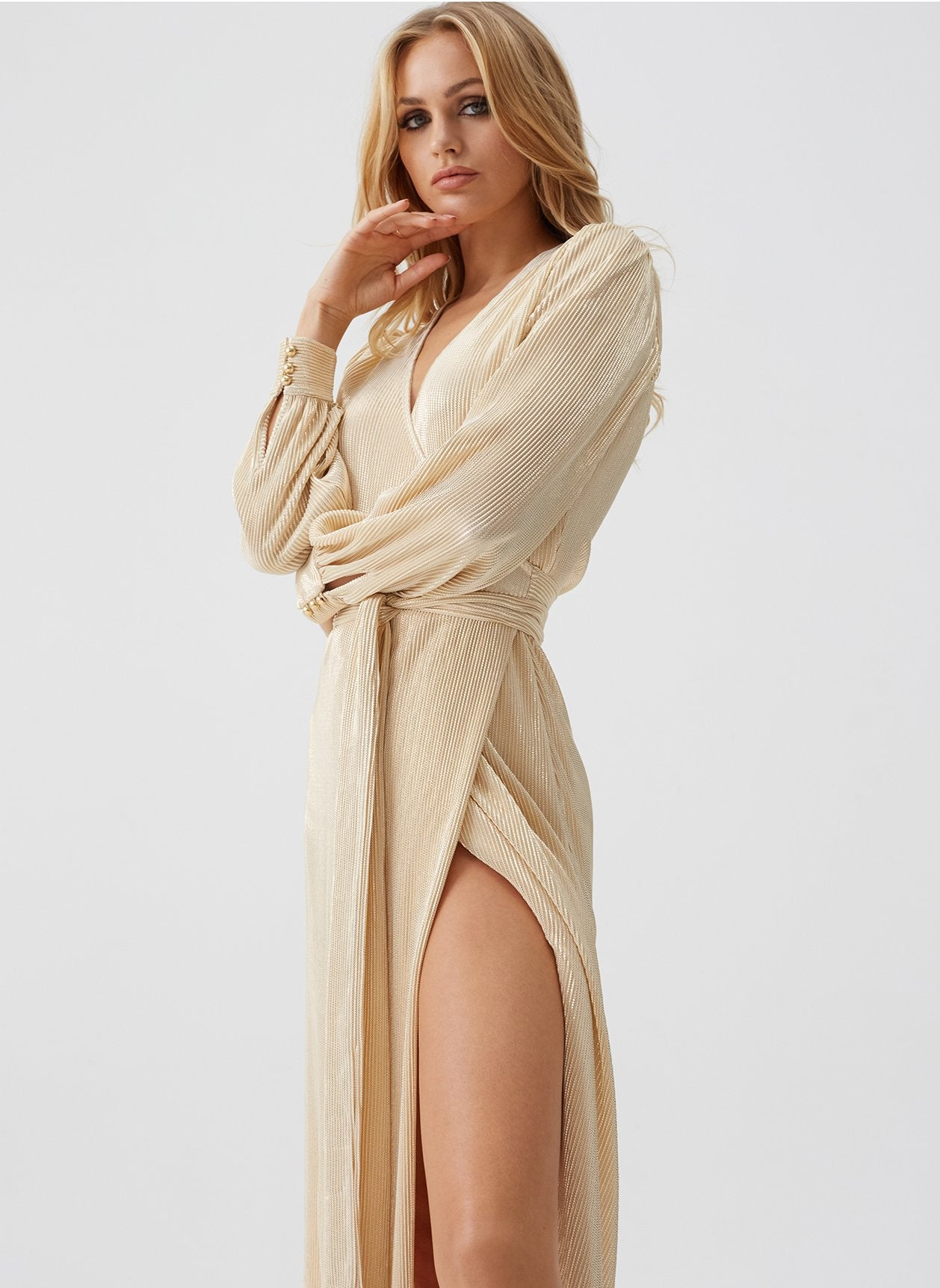 Bree Gold Wrap Maxi Dress