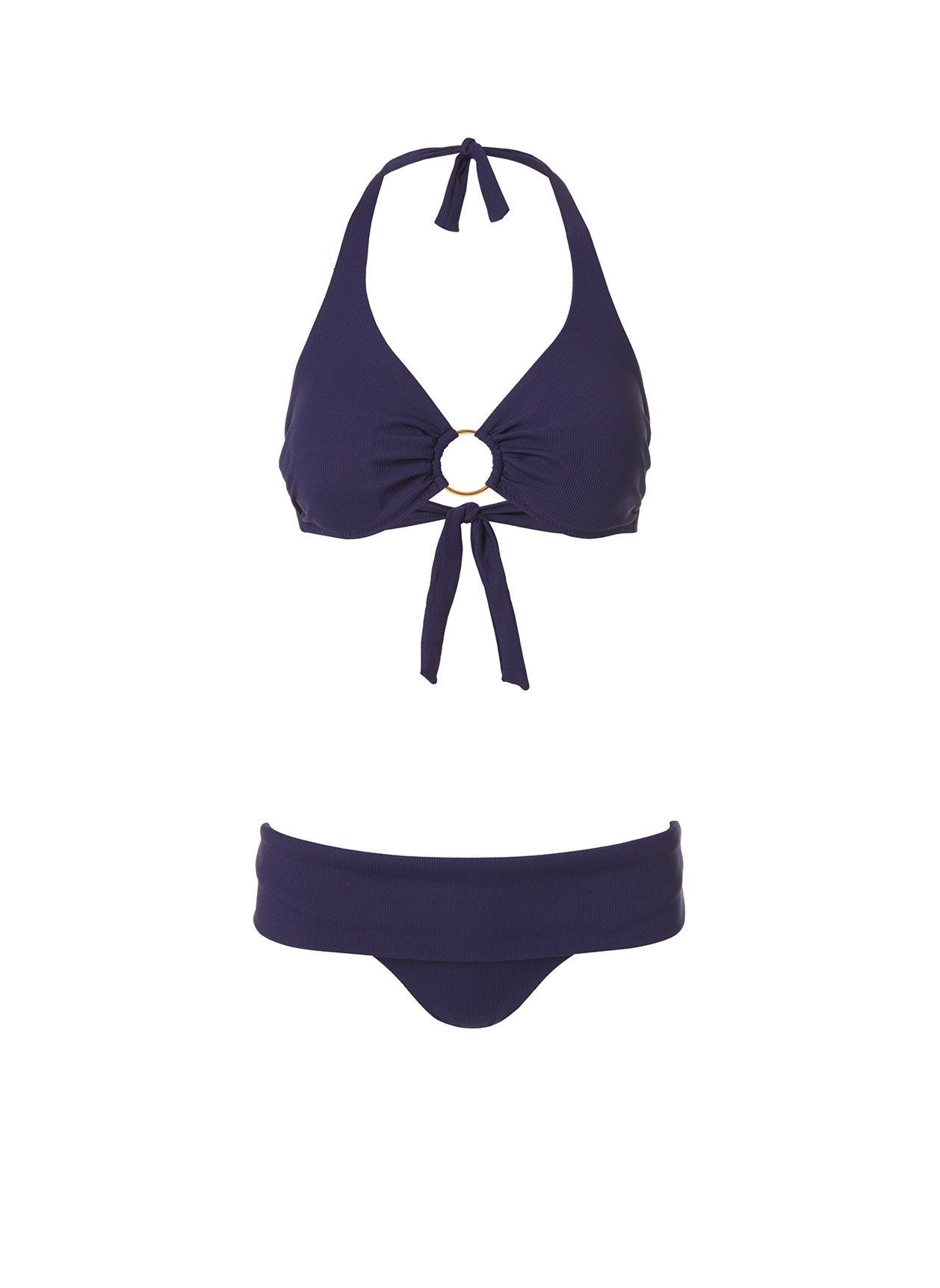 brussels bikini navy ribbed