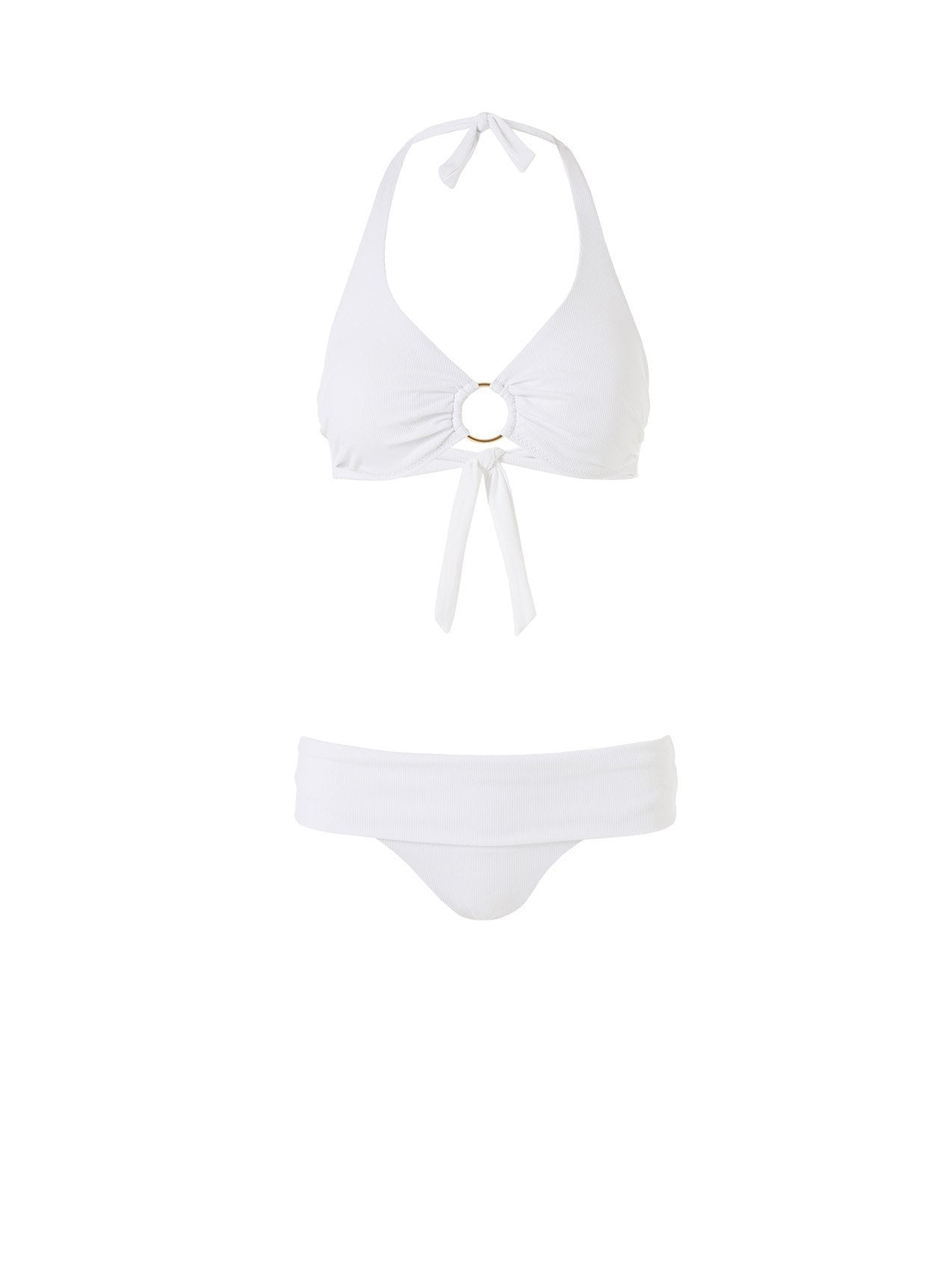 brussels bikini white ribbed