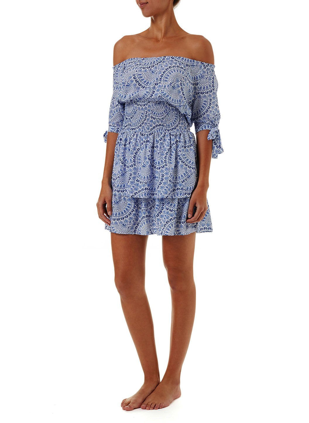 camilla blue fan offtheshoulder short dress 2019 F