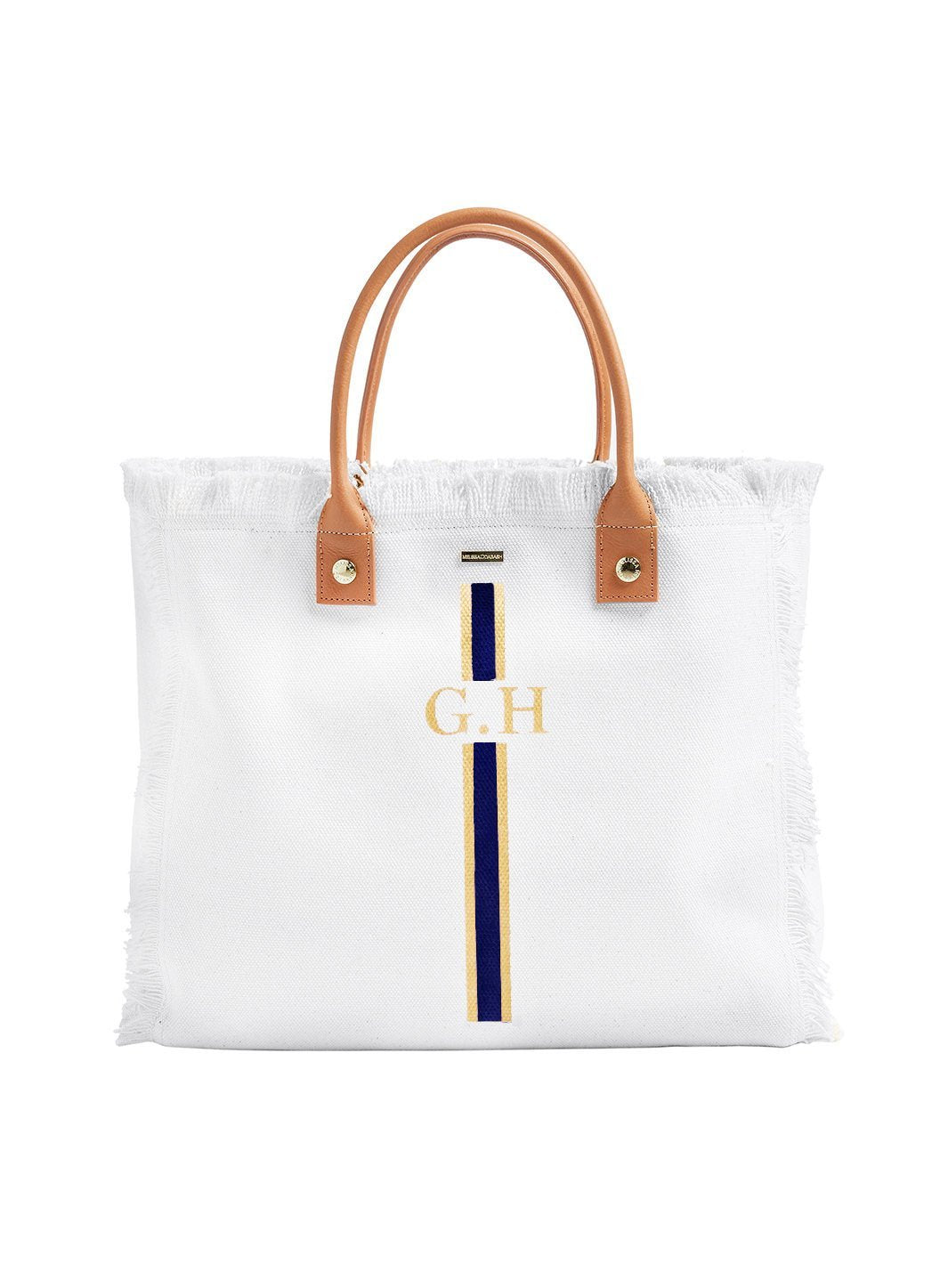 Personalized Cap Ferrat Tote White Navy