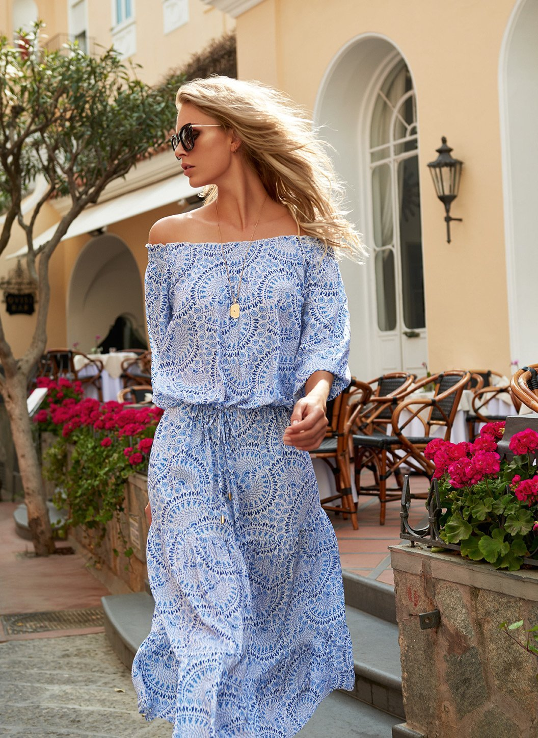 carmen blue fan off the shoulder midi dress lifestyle 2019