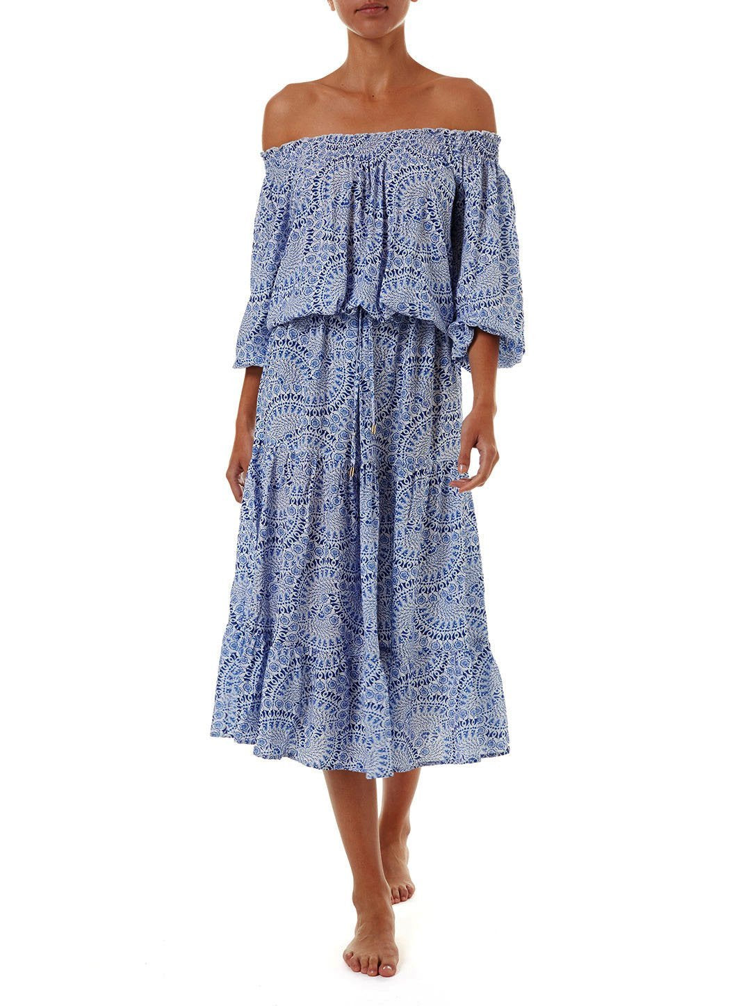 carmen blue fan offtheshoulder midi dress 2019 F