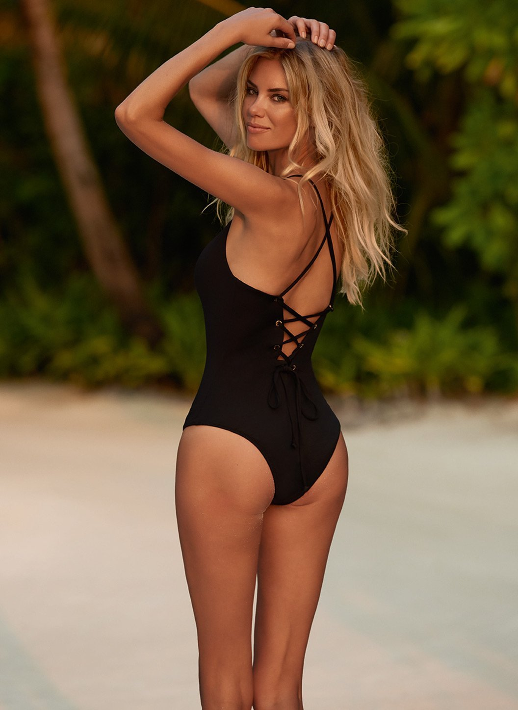 catalina black overtheshoulder crossback onepiece swimsuit backlifestyle 2019