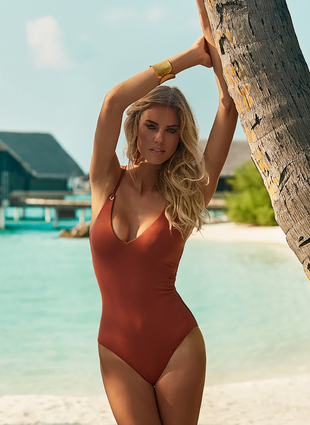 catalina cinnamon overtheshoulder crossback onepiece swimsuit lifestyle 2019