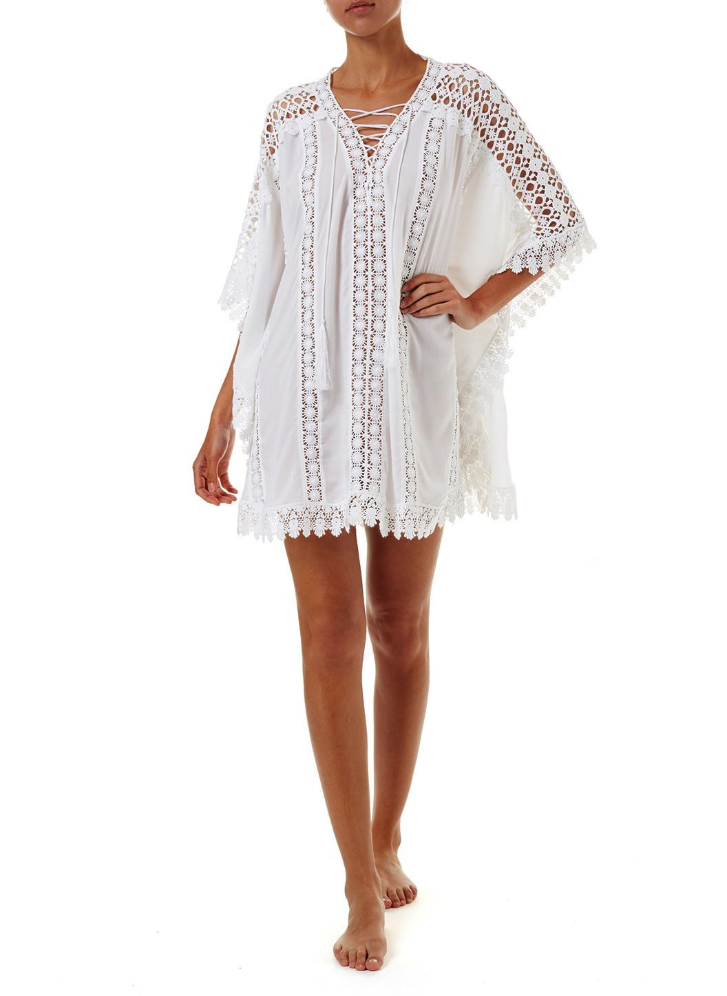 cindy white lace embroidered vneck short kaftan 2019 F