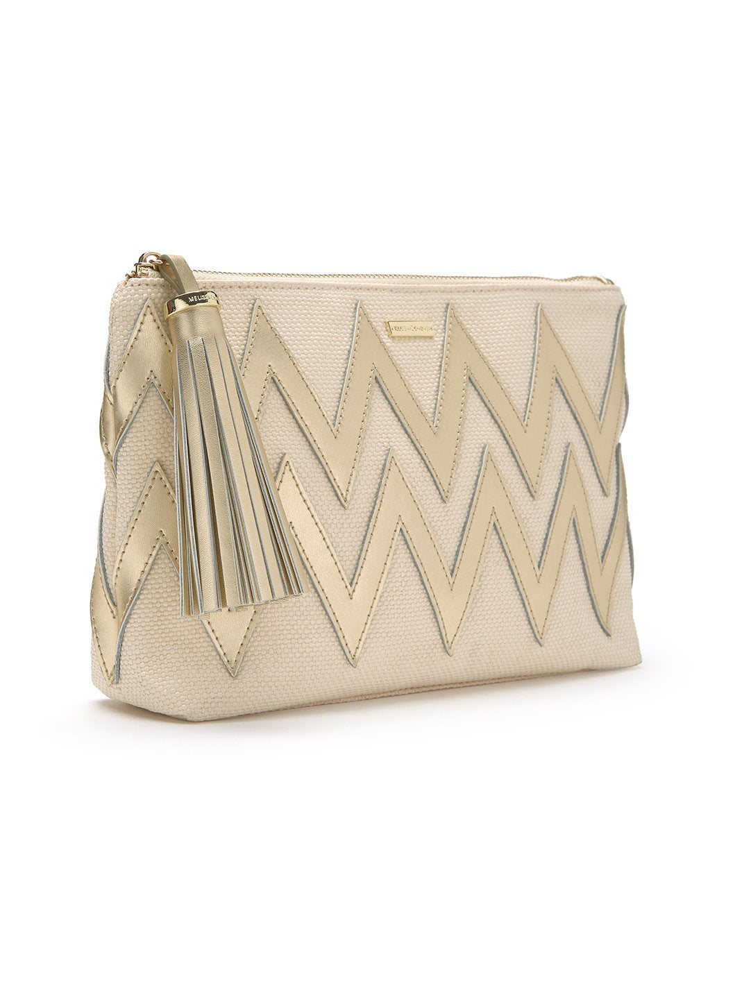 crete zigzag clutch bag natural gold 2019 2