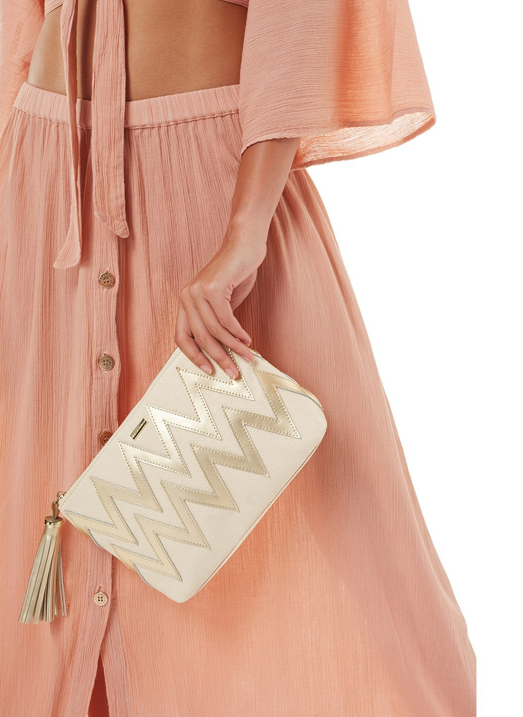 crete zigzag clutch cream gold 2019 2