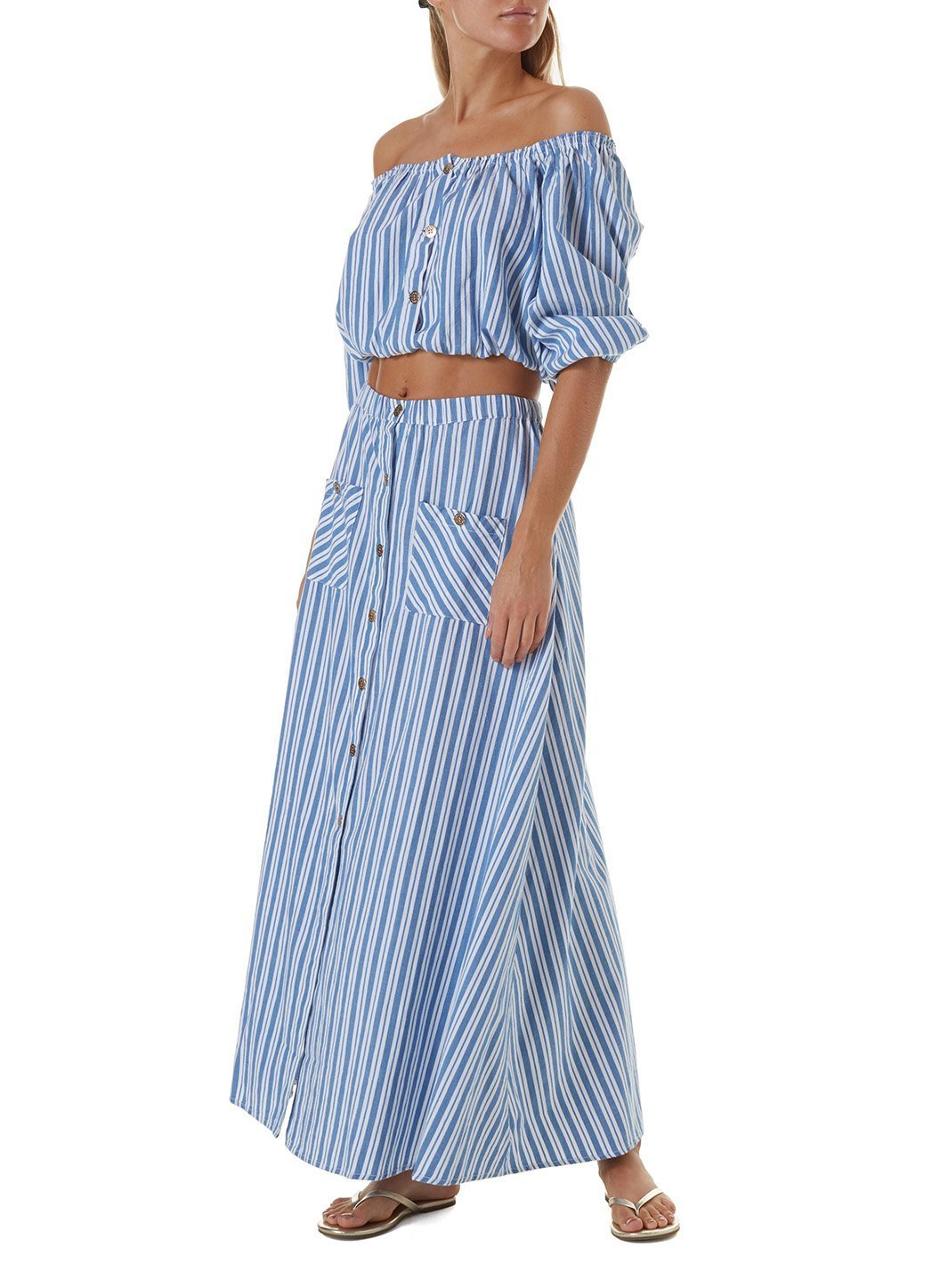 danna blue stripe top