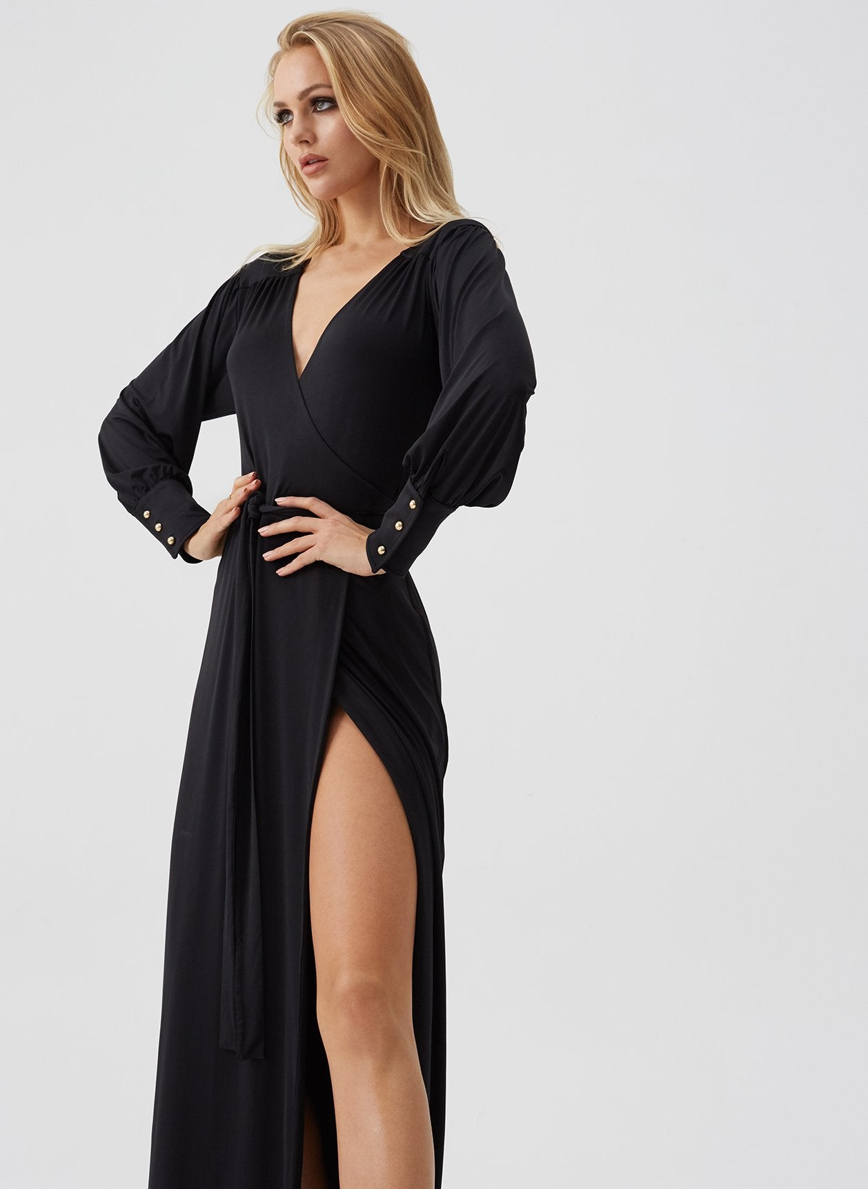 Libby Black Wrap Maxi Dress