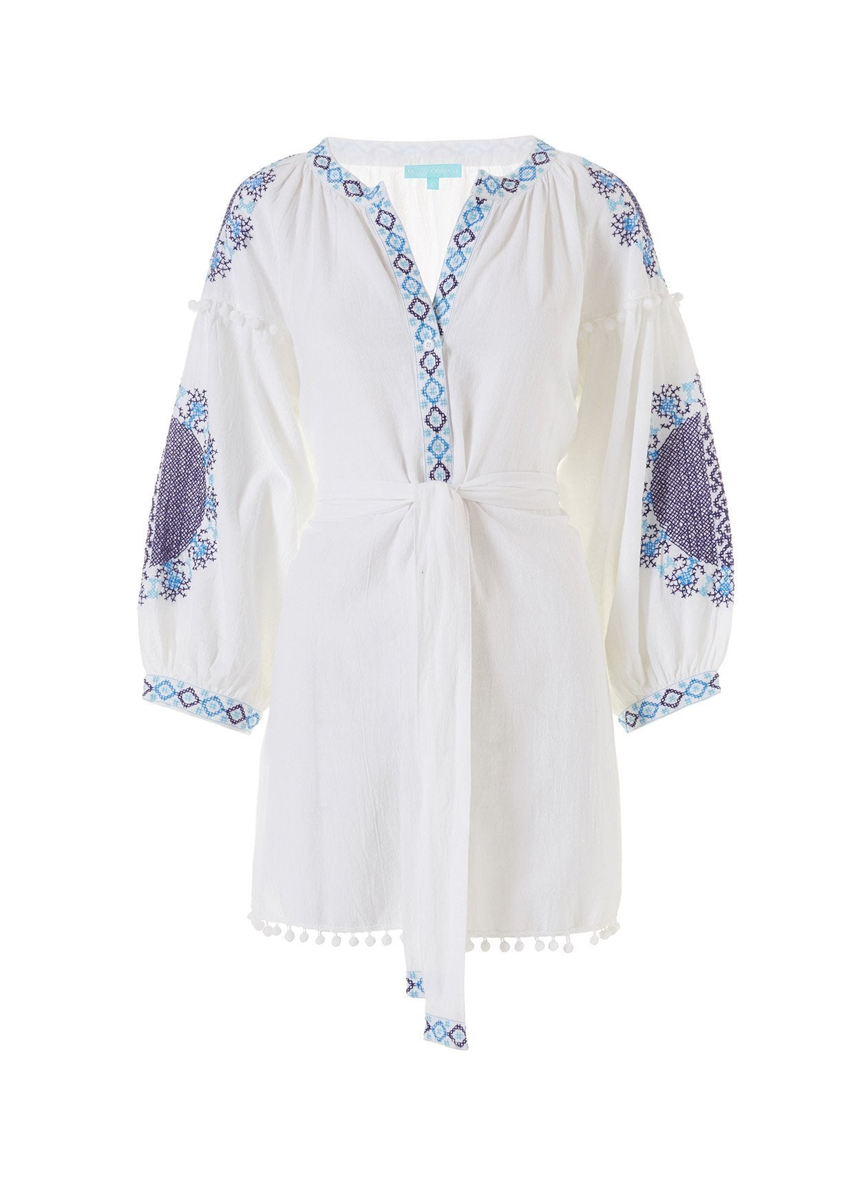 eliza white blue short kaftan