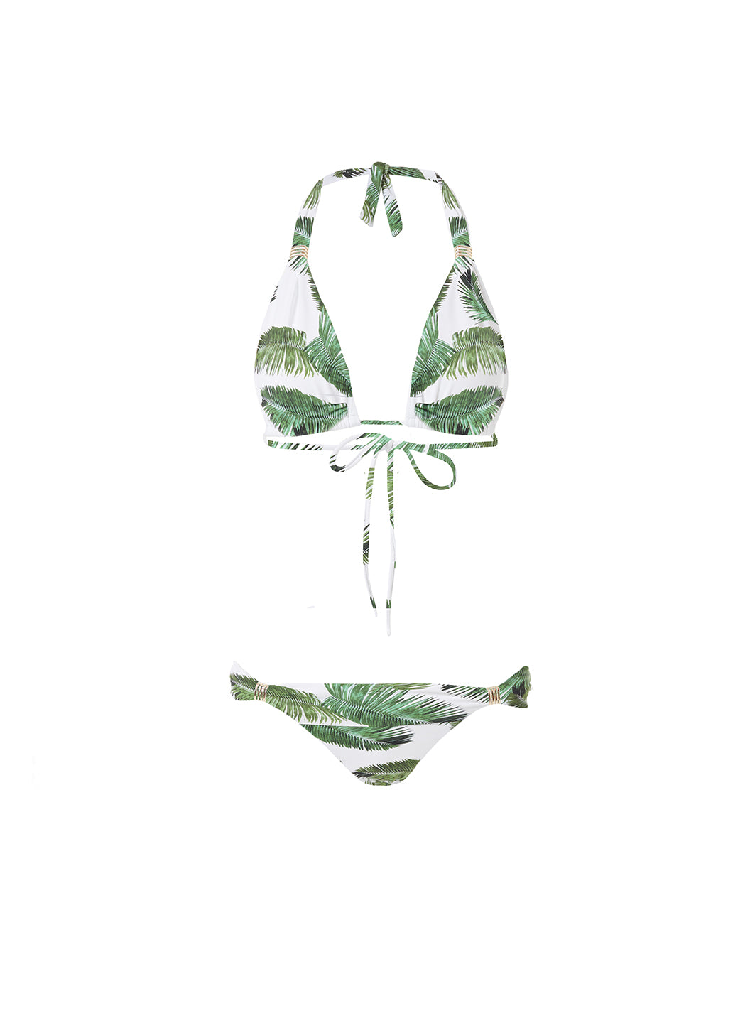 Grenada Palm White Adjustable Halterneck Bikini