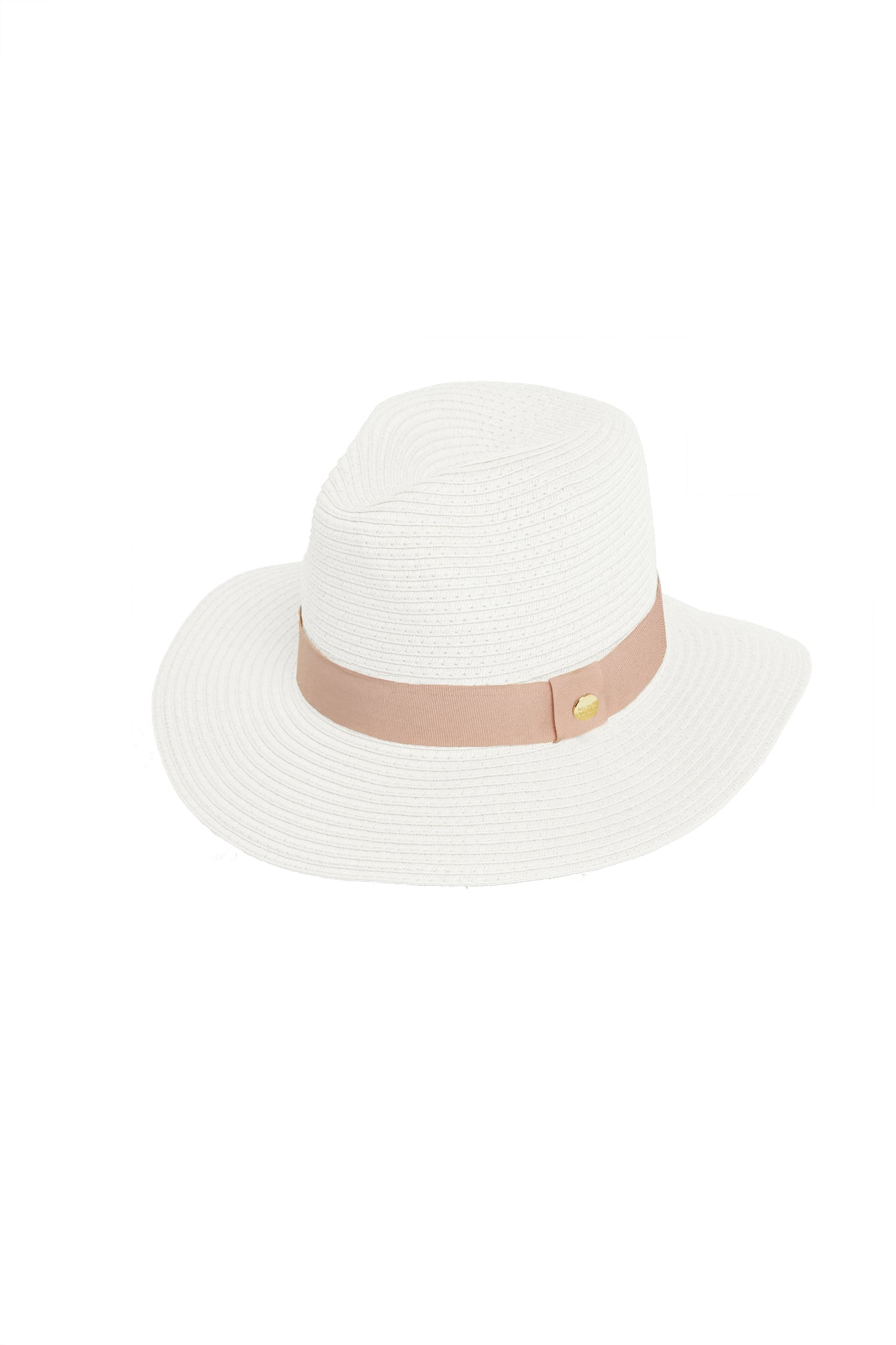 Fedora Hat White Dusty Rose