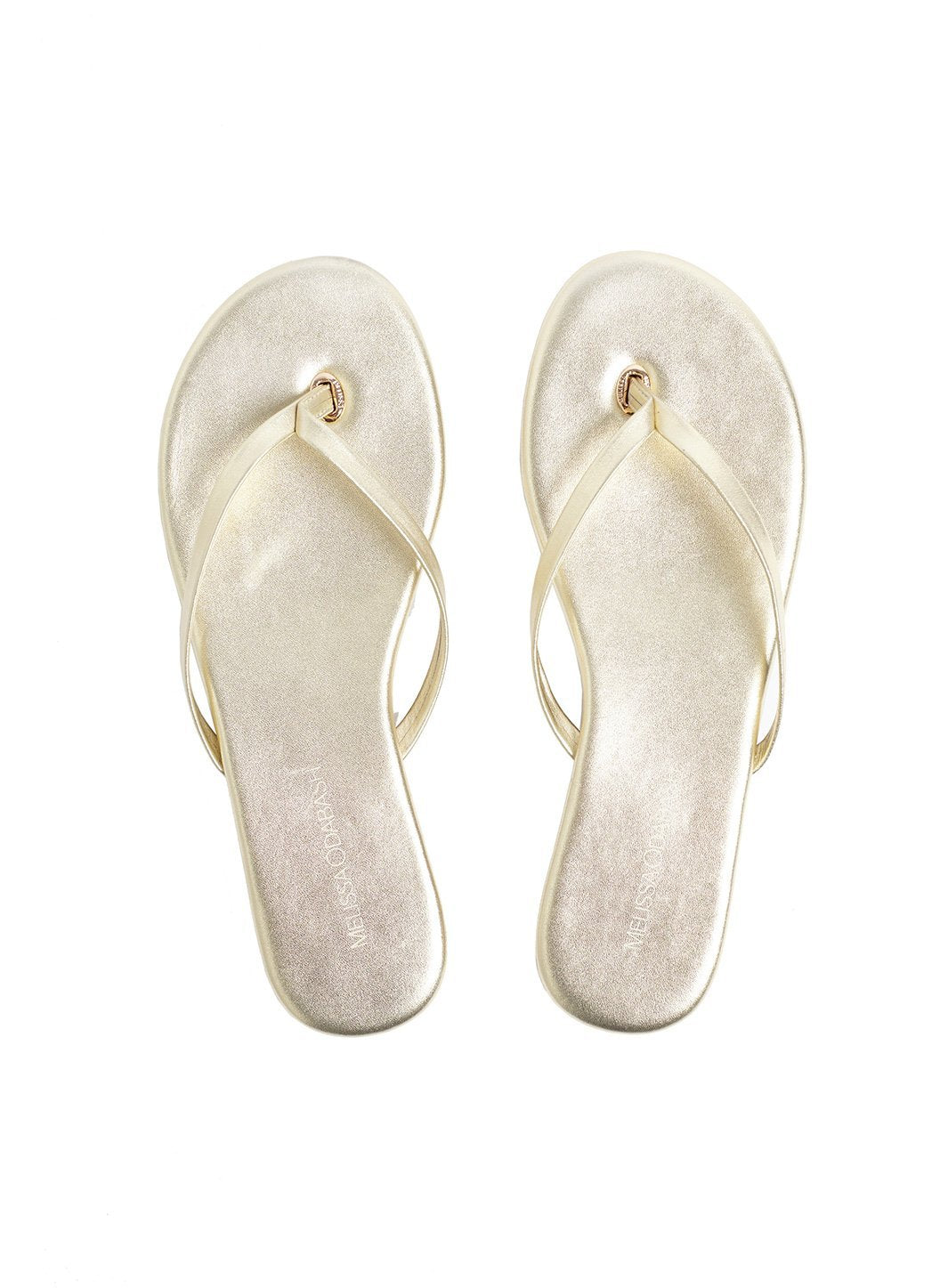 Leather Flip Flops Gold
