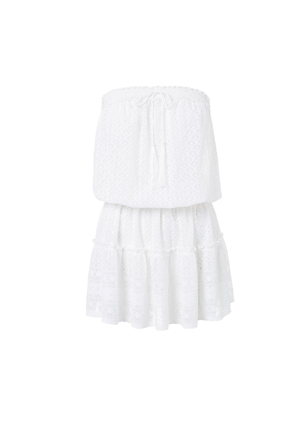 fru white textured bandeau short frill beach dress 2019