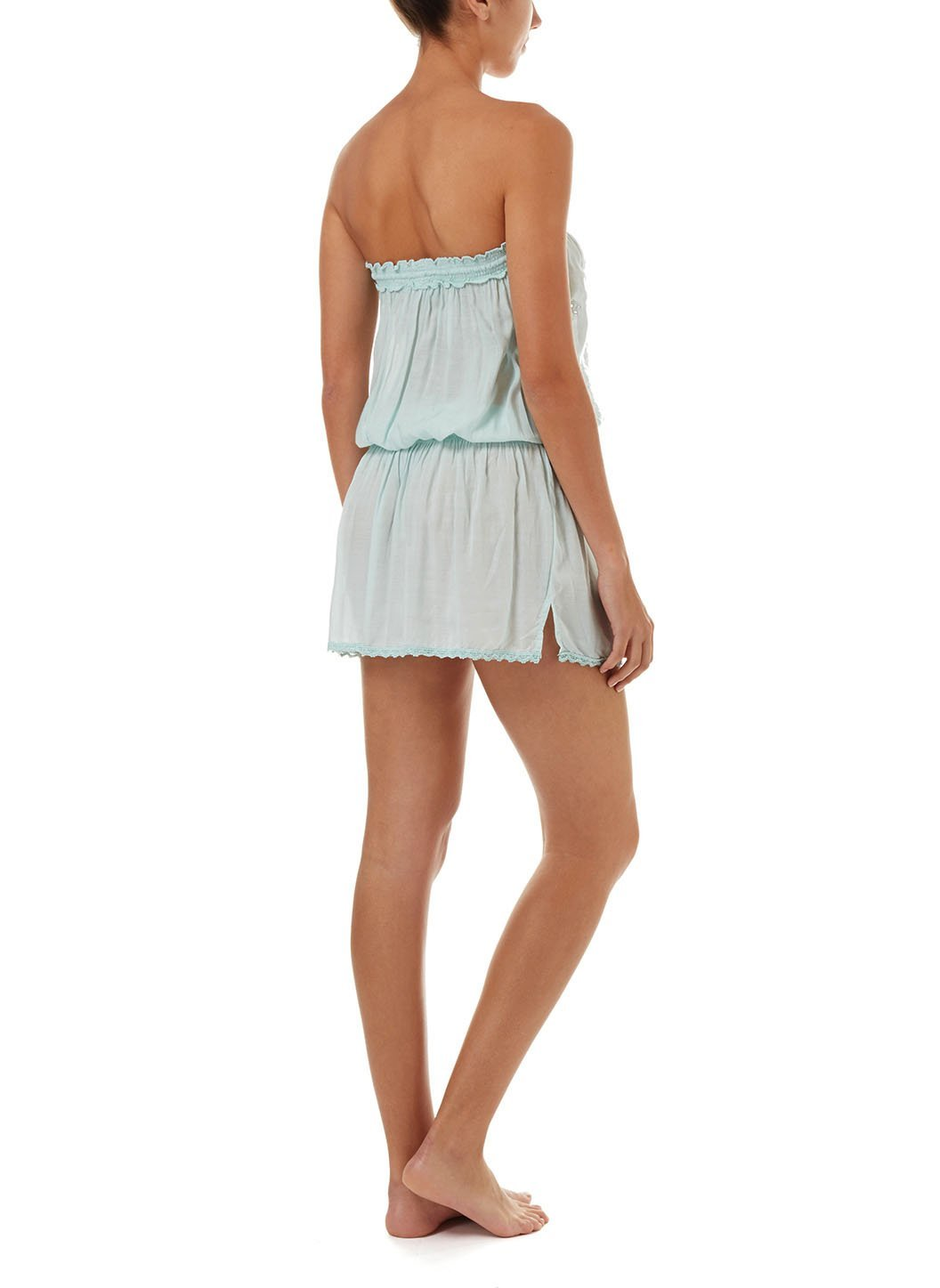 fruley mint bandeau embroidered short beach dress 2019 B