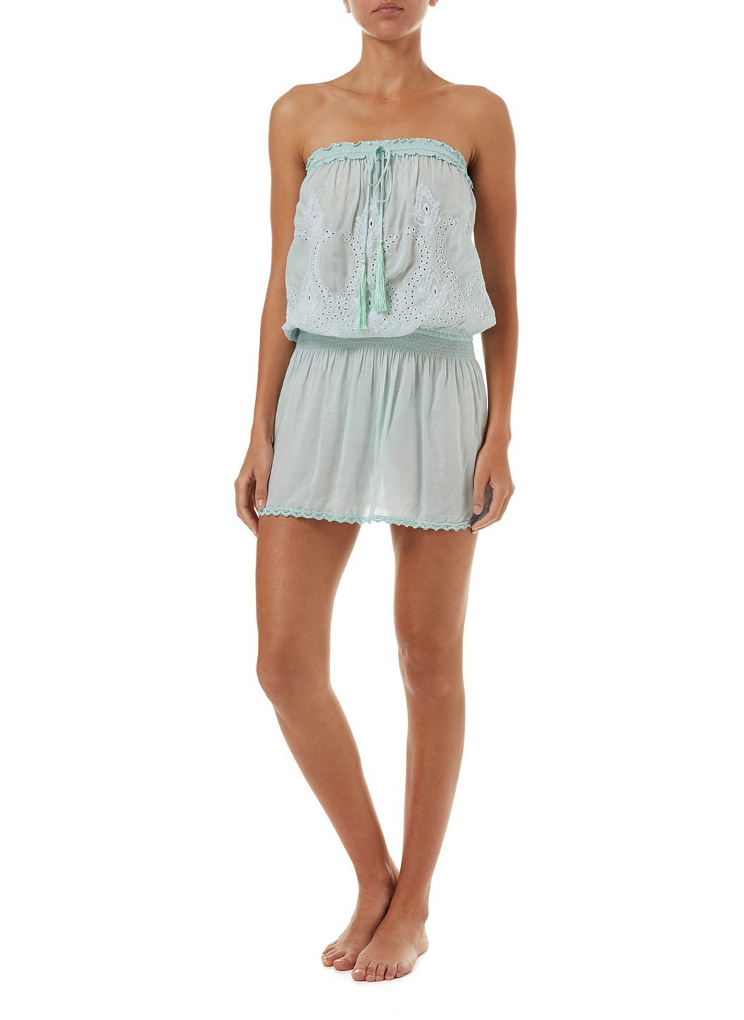 fruley mint bandeau embroidered short beach dress 2019 F