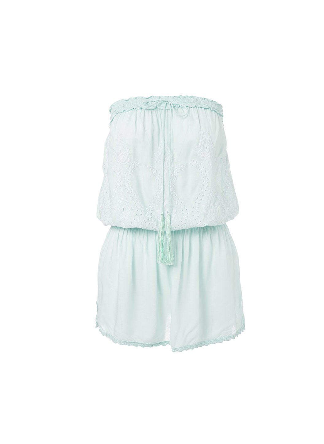 fruley mint bandeau embroidered short beach dress 2019