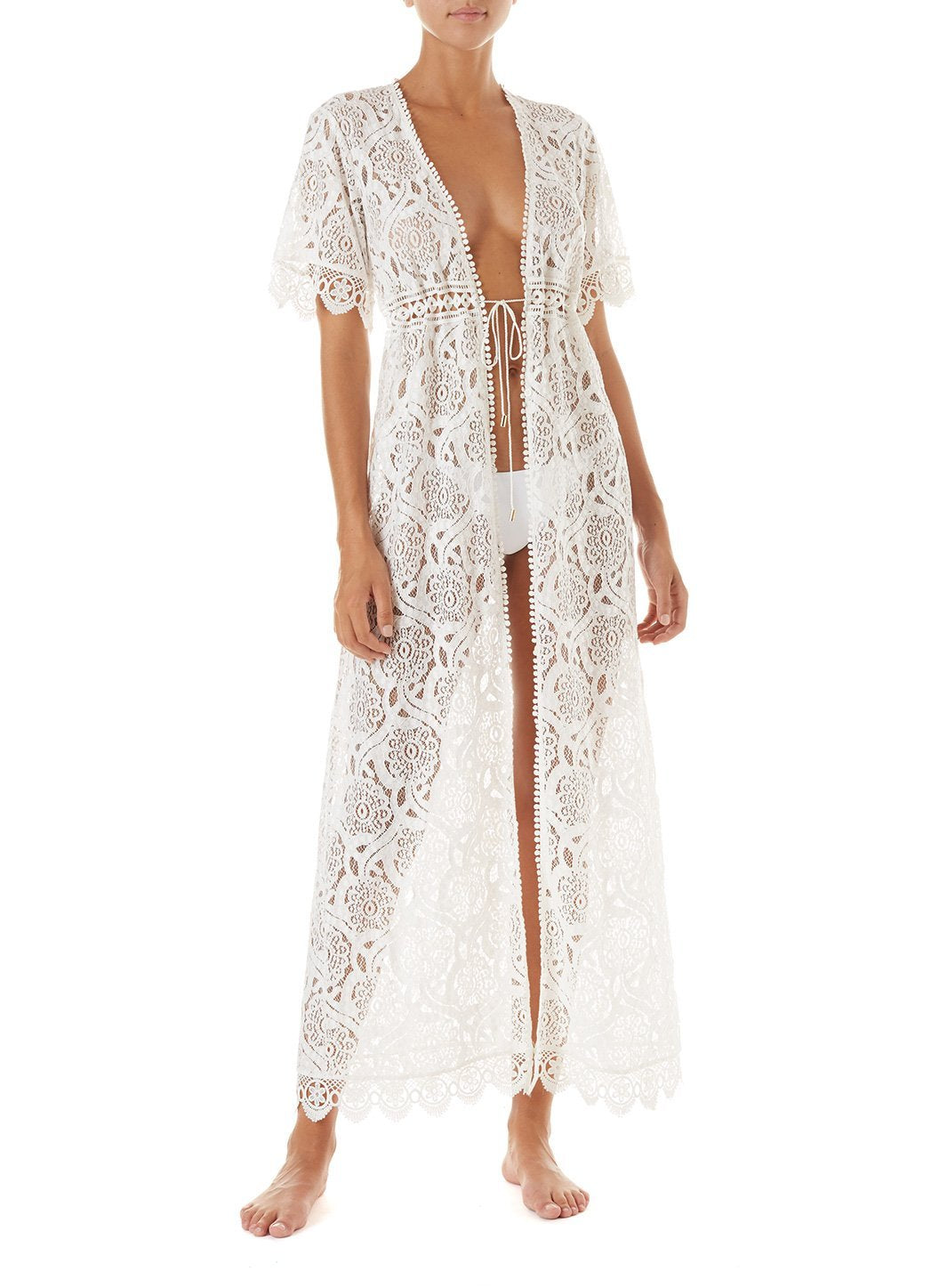 gabrielle cream embroidered lace maxi button down coverup 2019 F