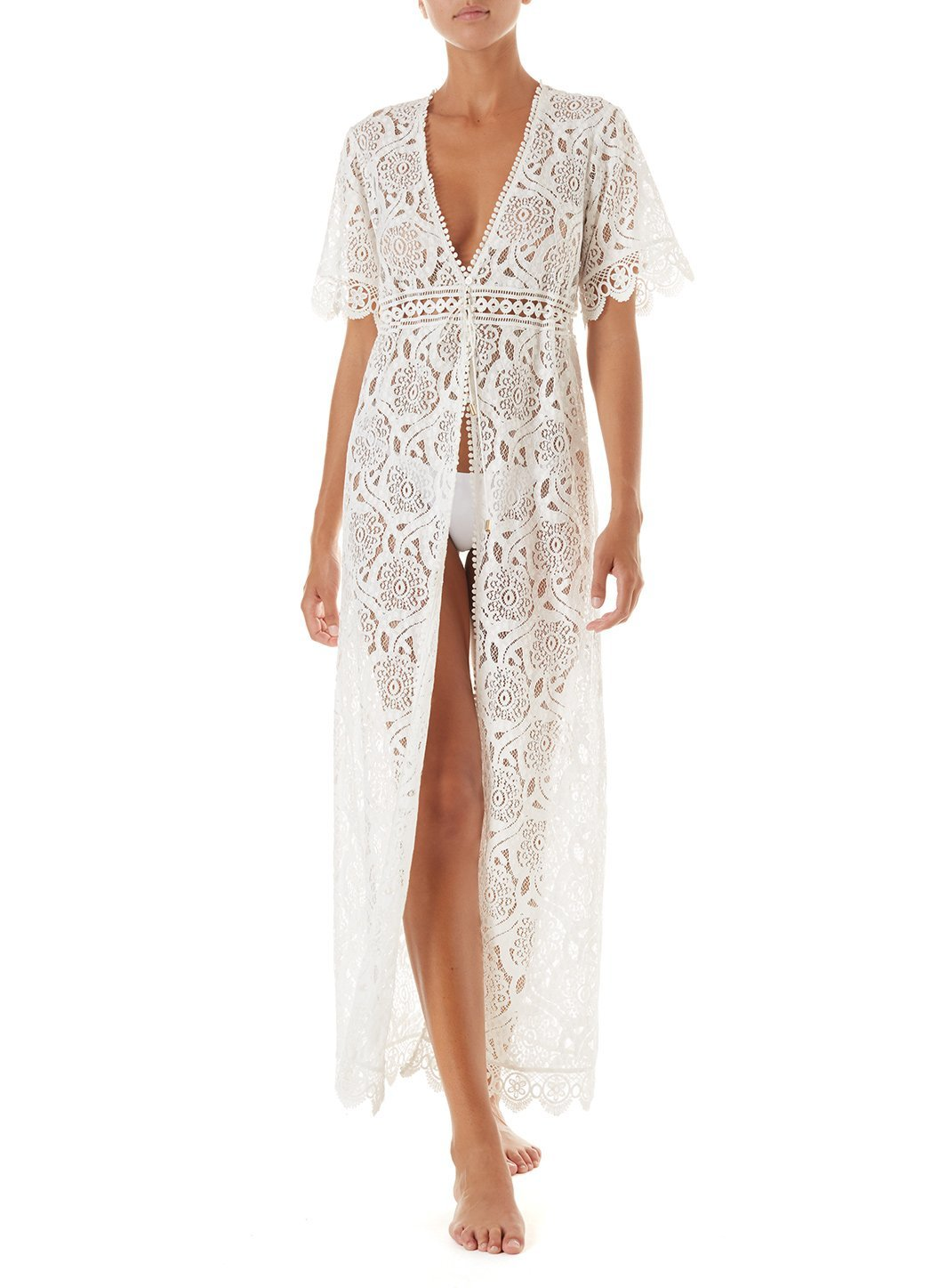 gabrielle cream embroidered lace maxi button down coverup 2019 F_2