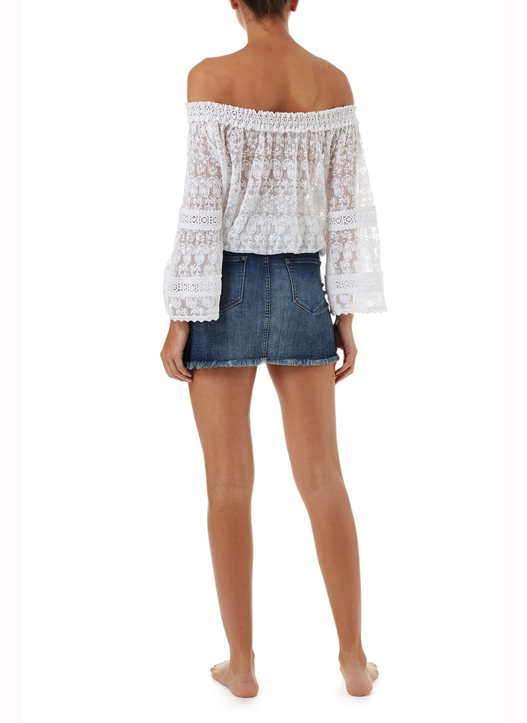 gia white textured offtheshoulder top 2019 B