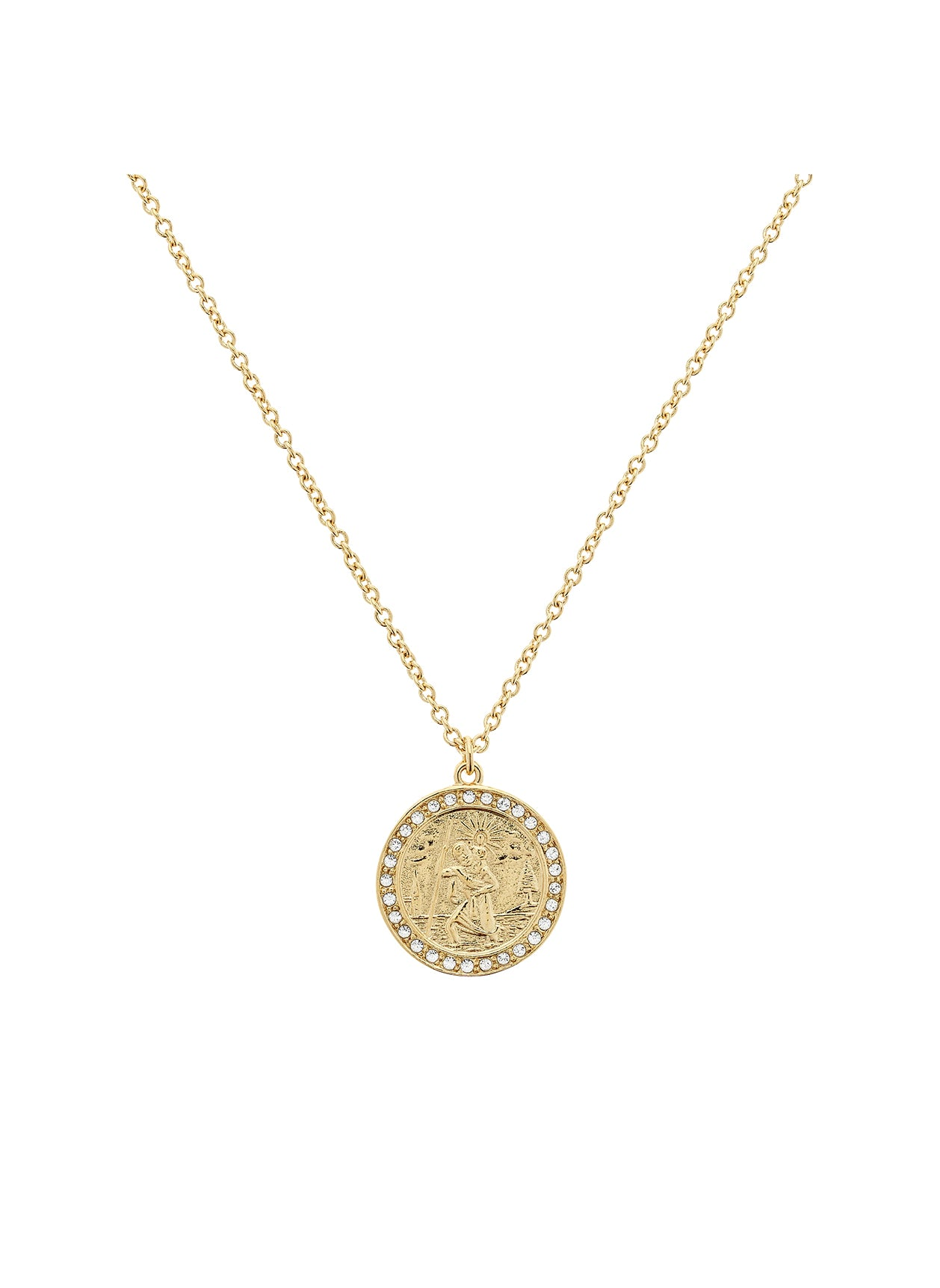 Gold Swarovski Crystal St Christopher Necklace