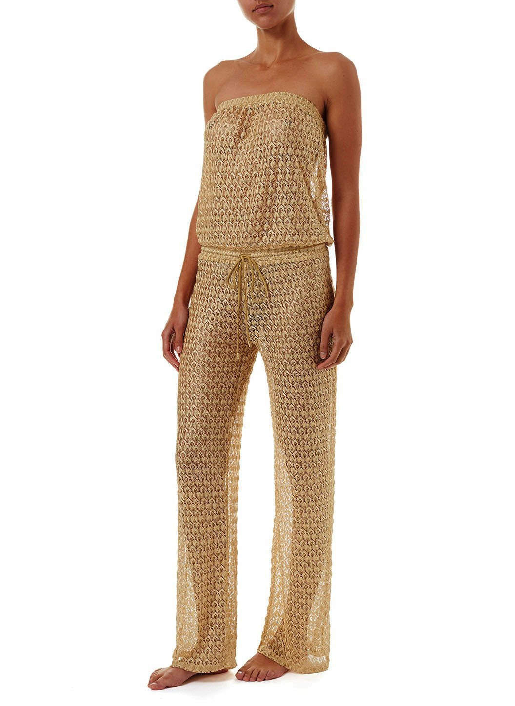 grace gold knit bandeau jumpsuit 2019 F