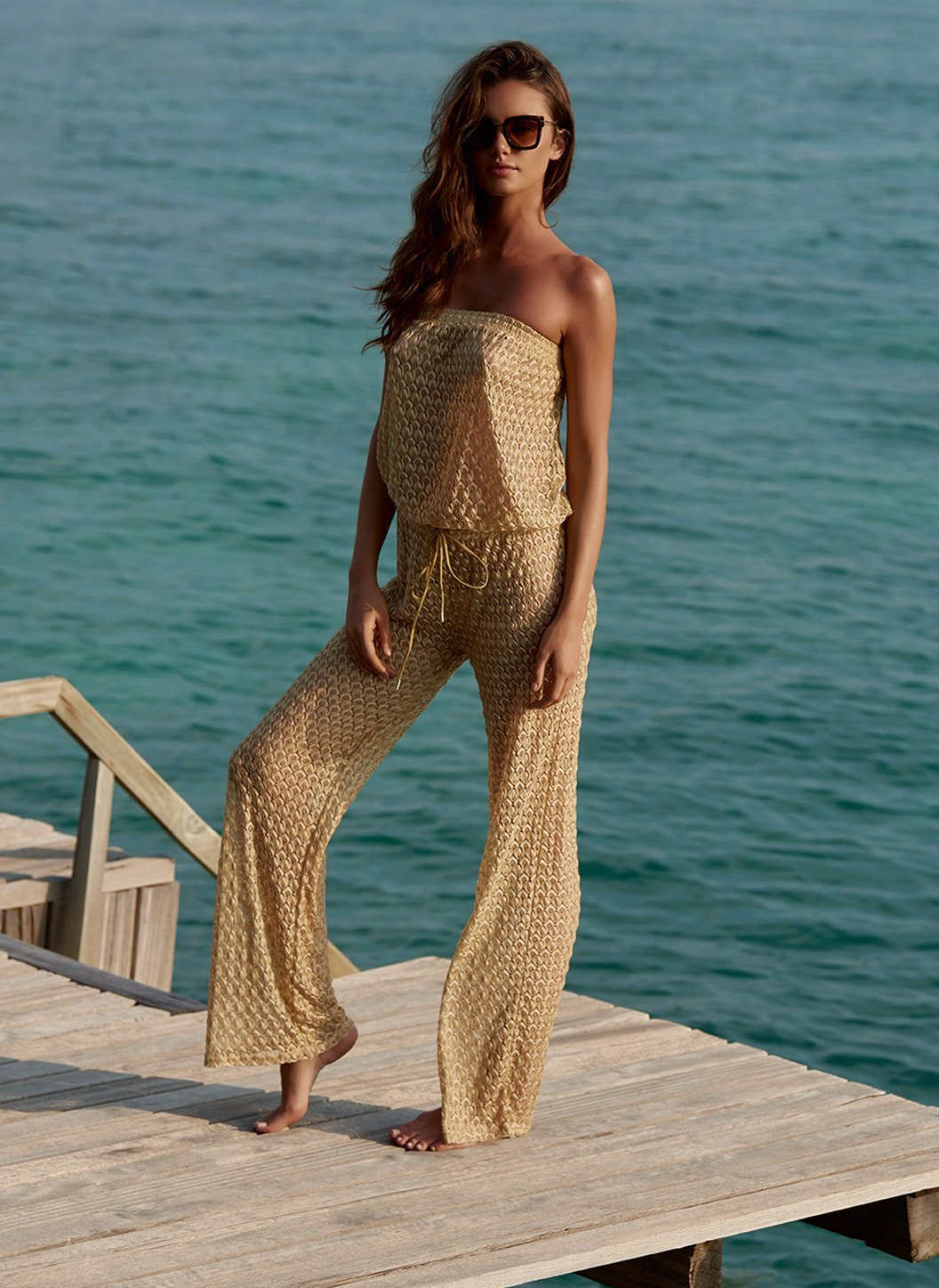 grace gold knit bandeau jumpsuit lifestyle 2019
