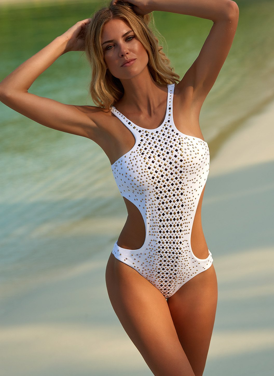 hollywood white studded cutout onepiece swimsuit lifestyle 2019