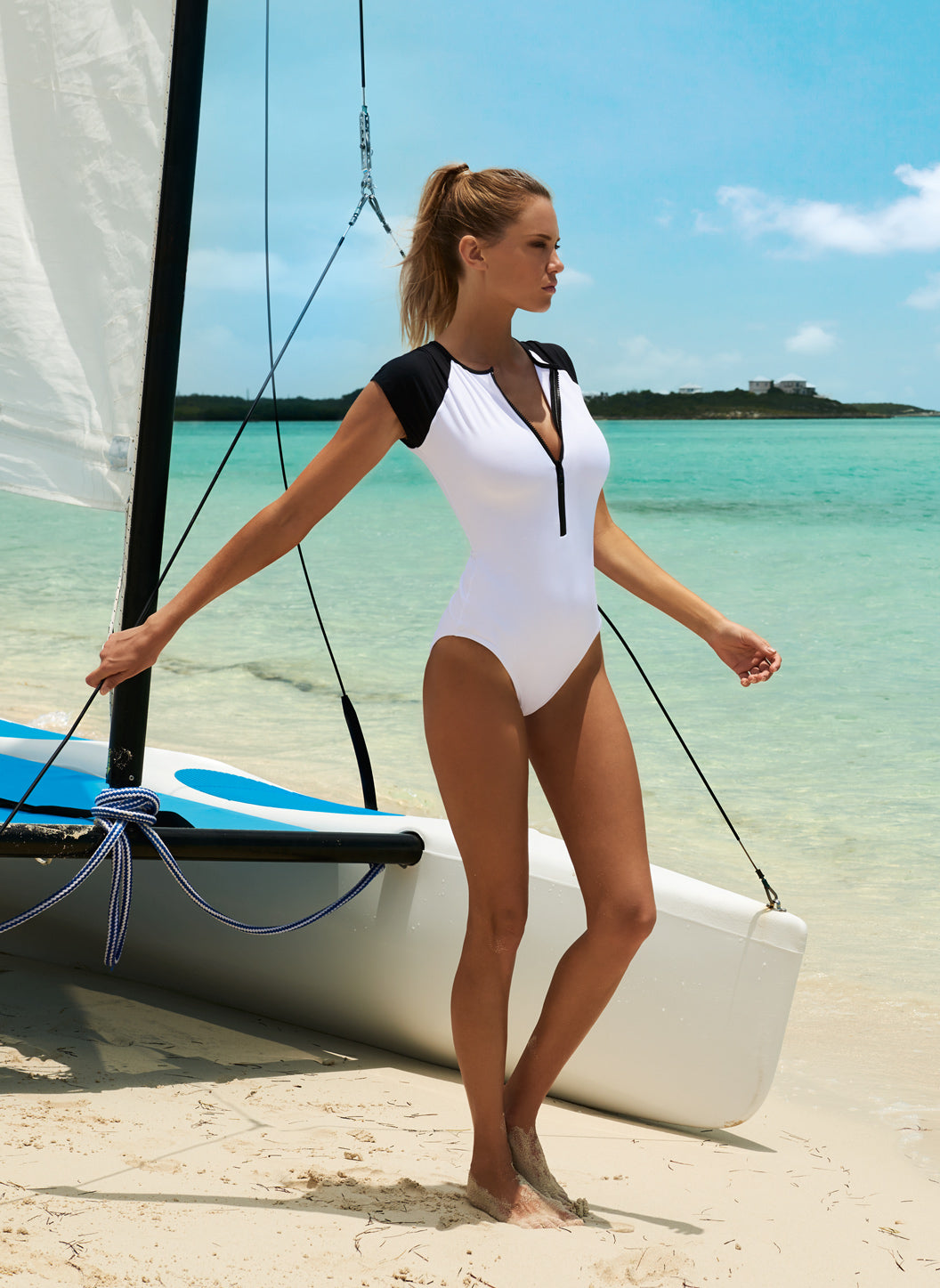 Honolua White Sports Zip Up Swimsuit