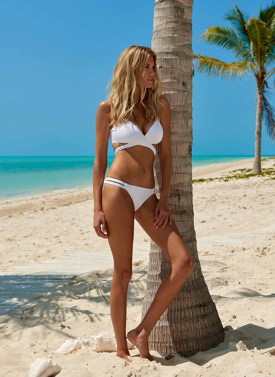 Indonesia White Over The Shoulder Wrap Bikini