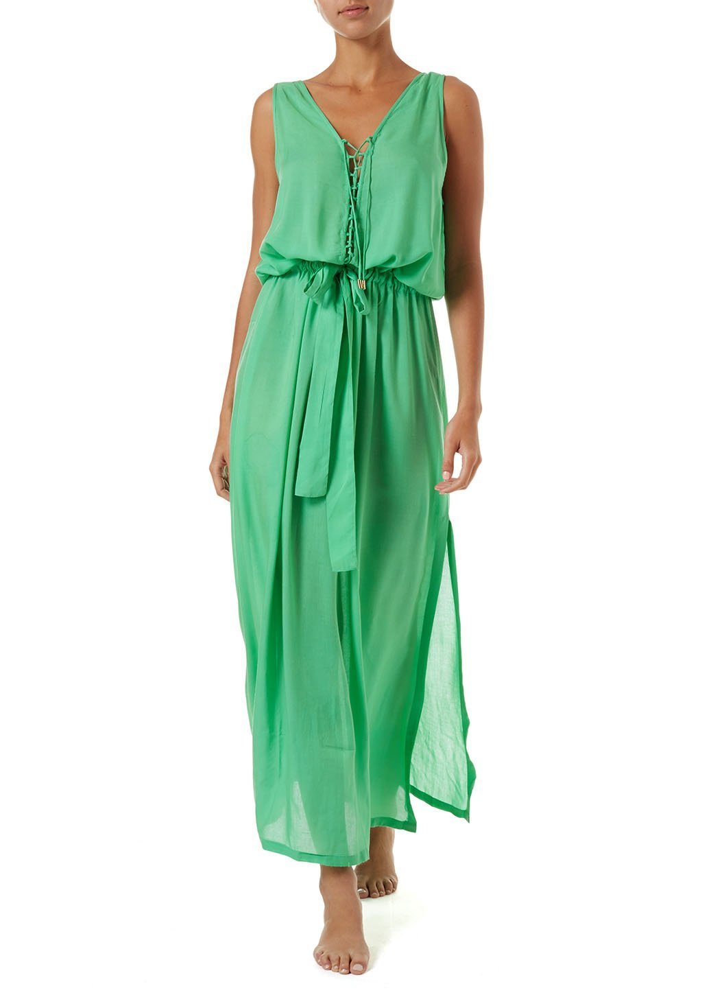 jacquie green laceup belted maxi dress 2019 F
