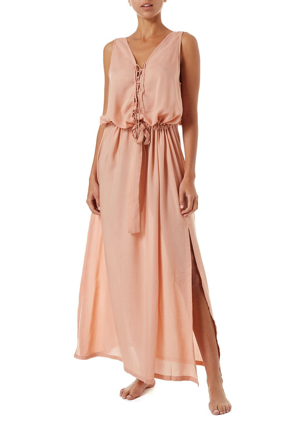 jacquie tan laceup belted maxi dress 2019 F