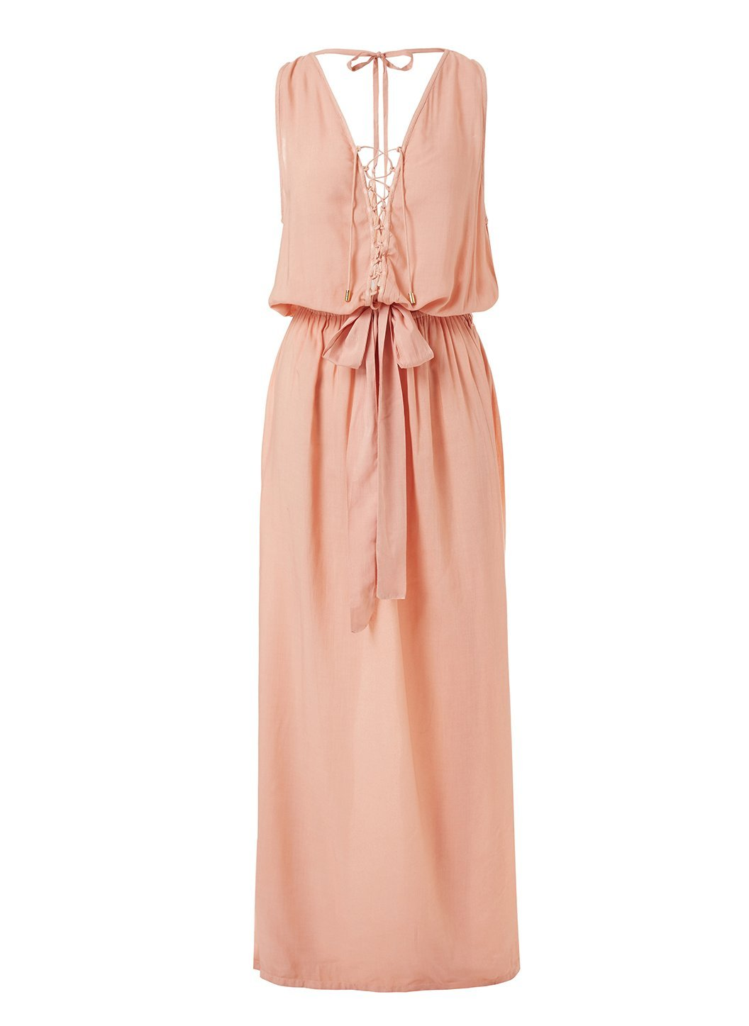 jacquie tan laceup belted maxi dress 2019