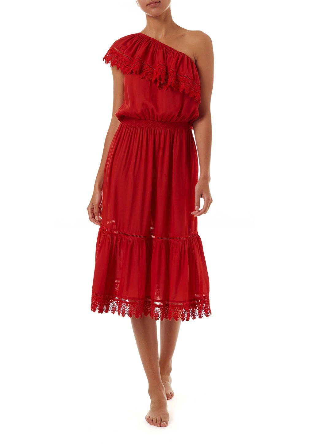 jo red oneshoulder embroidered frill midi dress 2019 F