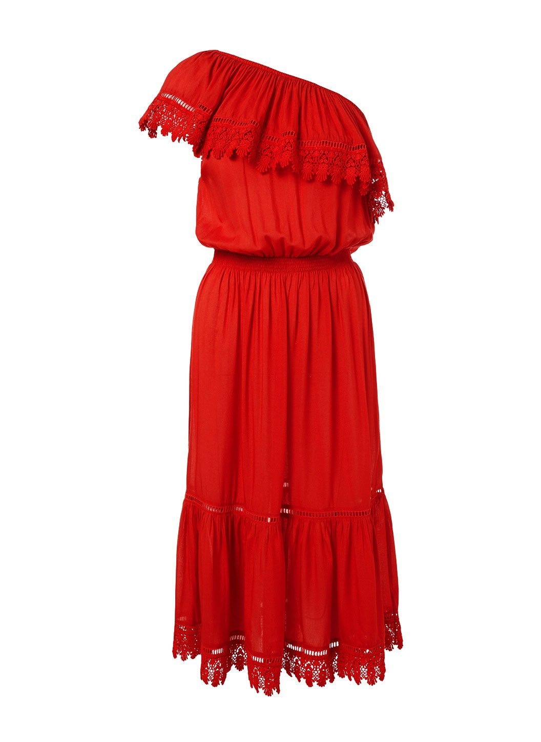 jo red oneshoulder embroidered frill midi dress 2019