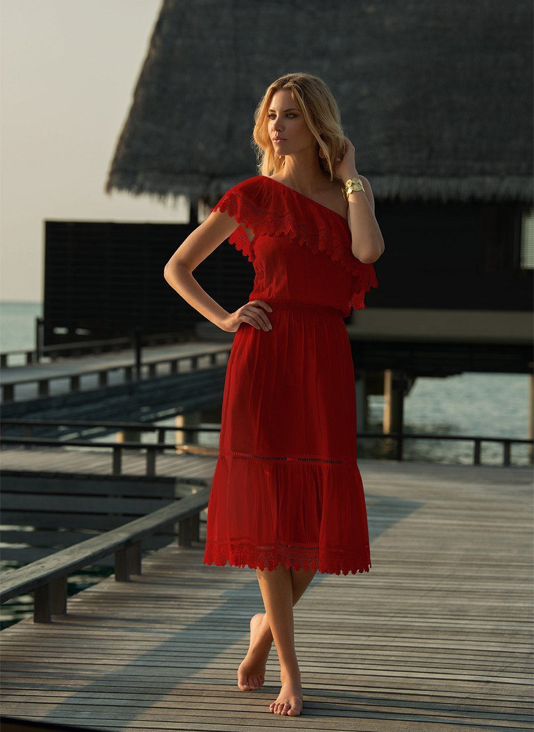 jo red oneshoulder embroidered frill midi dress lifestyle 2019