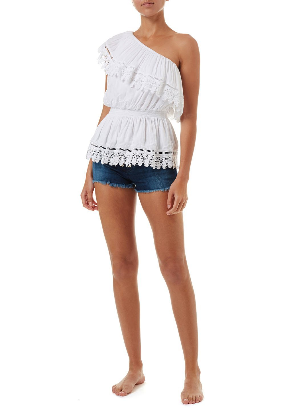 joanna white oneshoulder embroidered frill top 2019 F
