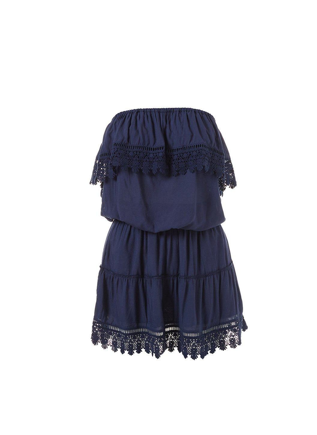 joy navy bandeau embroidered frill short dress 2019