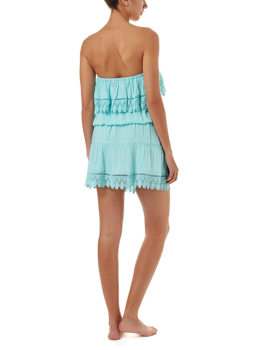 joy sky bandeau embroidered frill short dress 2019 B