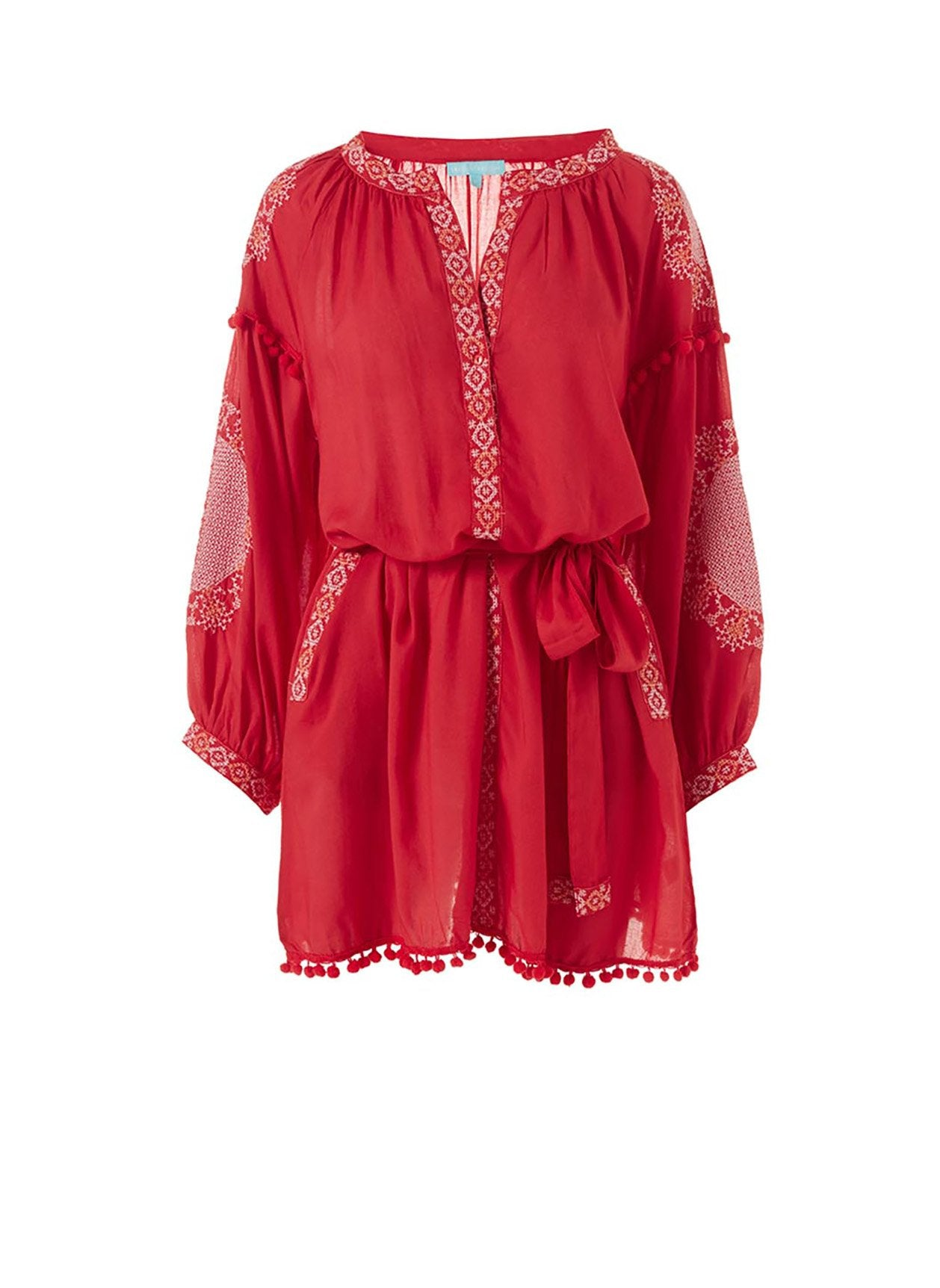 katya red white short kaftan