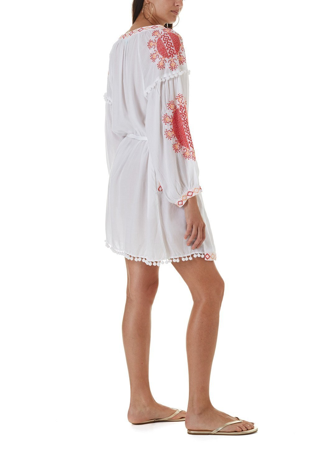 katya white red short kaftan