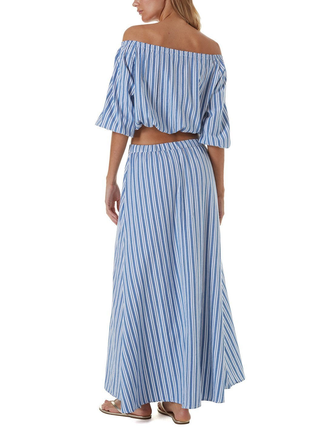 kelly blue stripe maxi skirt