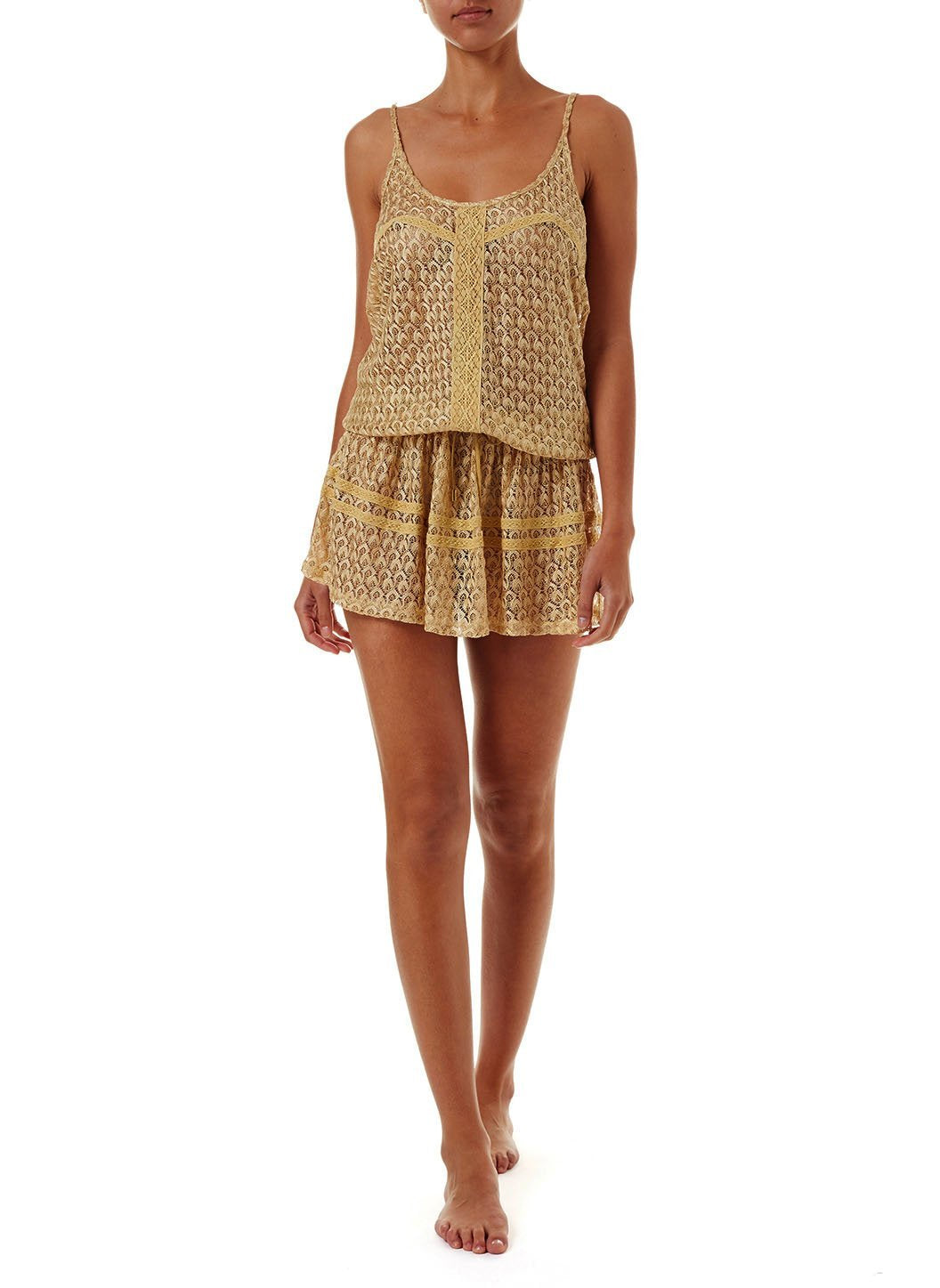 khloe gold crochet overtheshoulder short beach dress 2019 F